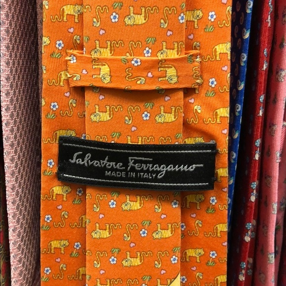 Salvatore Ferragamo Other - Ferragamo tie. Orange and yellow. Animals print.